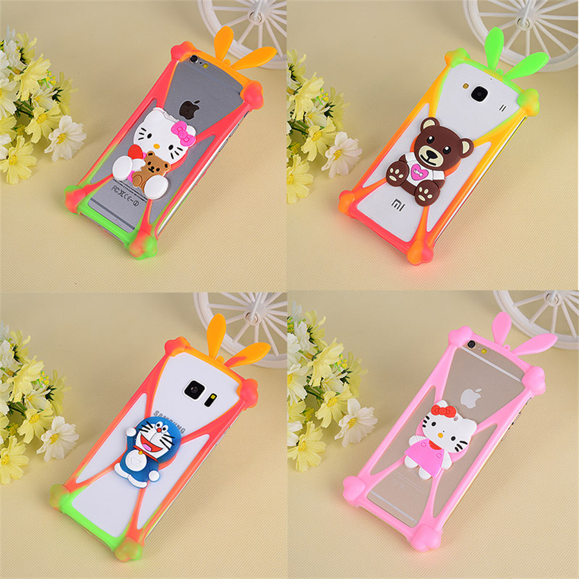 Cute Cartoon Silicone Cell Phone Holster Case Fundas For Alcatel POP3 5.5 One Touch 6042D Flash Fire C E S Hero Idol 2 Mini L