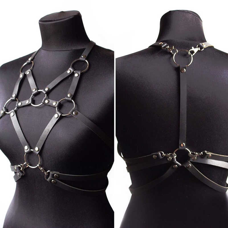 2019 Women Harness Leather Hand Crafted Bralette Harajuku Suspenders Bdsm Leather Harness Bondage Lingerie Rave Clothes Female