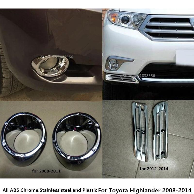 ABS Chrome Front head Fog light Lamp Cover trim For Toyota Highlander 2008-2010