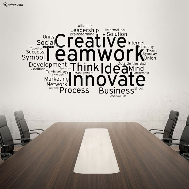 Us 9 85 20 Off Creative Teamwork Vinyl Wall Decal Team Work Office Art Decor Stickers Mural Innovate Inspirational Quote Wall Sticker H557 In Wall