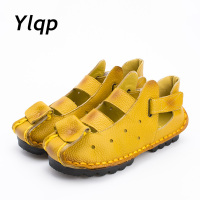 2016 Summer New Soft Bottom Flat Genuine Leather Women Shoes Personality Leisure Women Sandals Retro Handmade