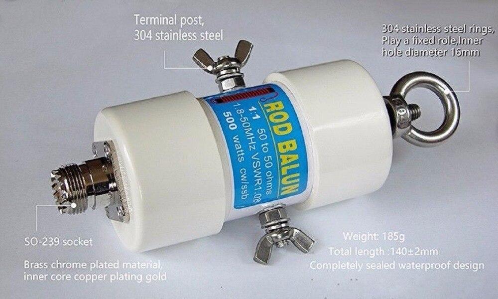 Nouveau 1:1 500 w Étanche HF Balun tige balun pour 160 m-6 m Bandes (1.8-50 mhz)