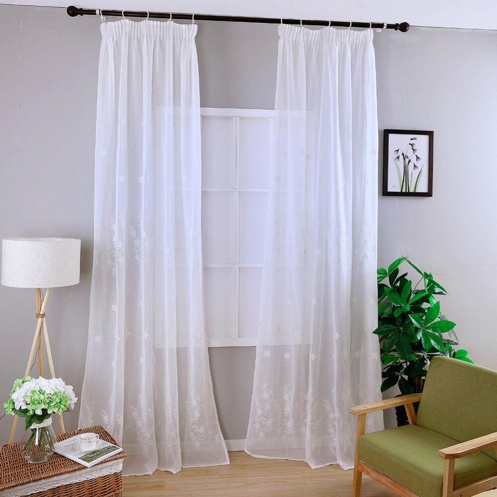 Online Get Cheap Branco Cortinas Florais Aliexpress Com Alibaba  ~ Cortina Branca Para Cozinha