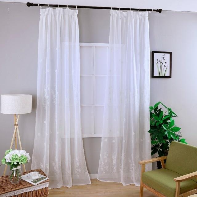 Vivere moderno tende finestra bianca pannello Ricamato floreale ...