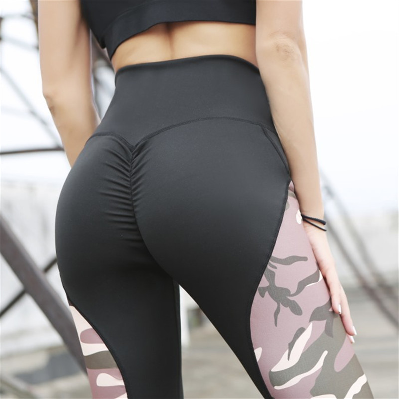Women Legging Pants Elastic Fitness Sexy Leggings Slim Camouflage Stitching Spider Web Printing High Waist Hips Slim Leggins