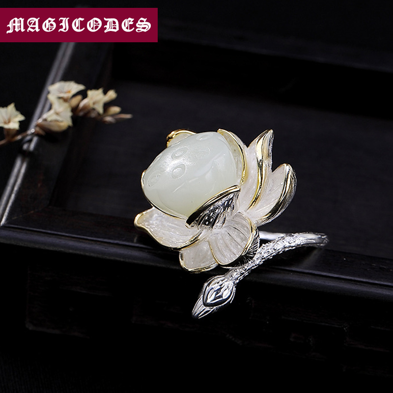 2019 Initial LOVE Adjustable Ring 100 Real 925 Sterling Silver Jewelry Women Mosaic jade lotus Wedding