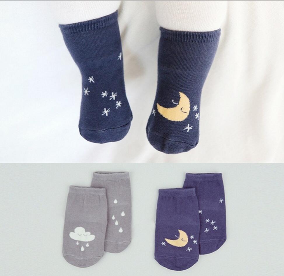 ₩NIÑOS Calcetines de invierno Luna y nube patrón bebé polar caliente ...