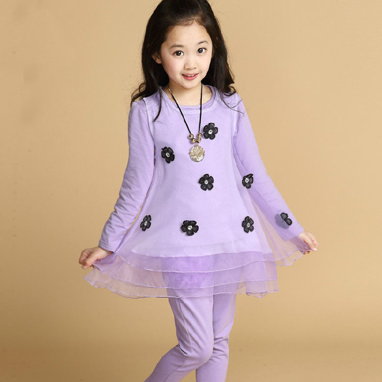 Free shipping Children's clothing spring/summer girl princess suit  lace long-sleeve T-shirt+dress+pant girl set free shipping children clothing spring girl three dimensional embroidery 100% cotton suit long sleeve t shirt pants