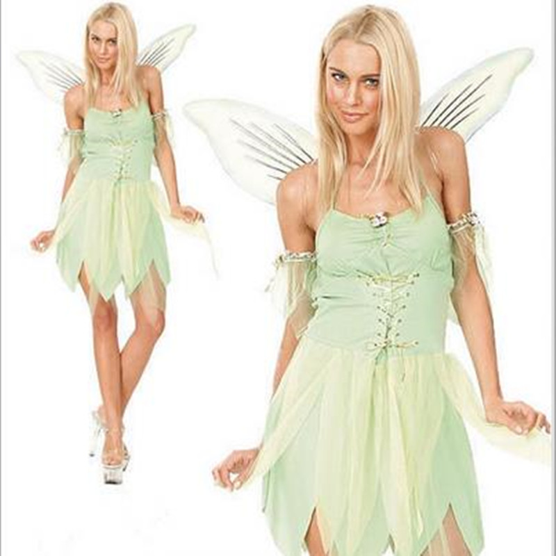 halloween costumes adult women the wizard of oz green forest woodland elf fairy costume tinkerbell garden - Green Fairy Halloween Costume