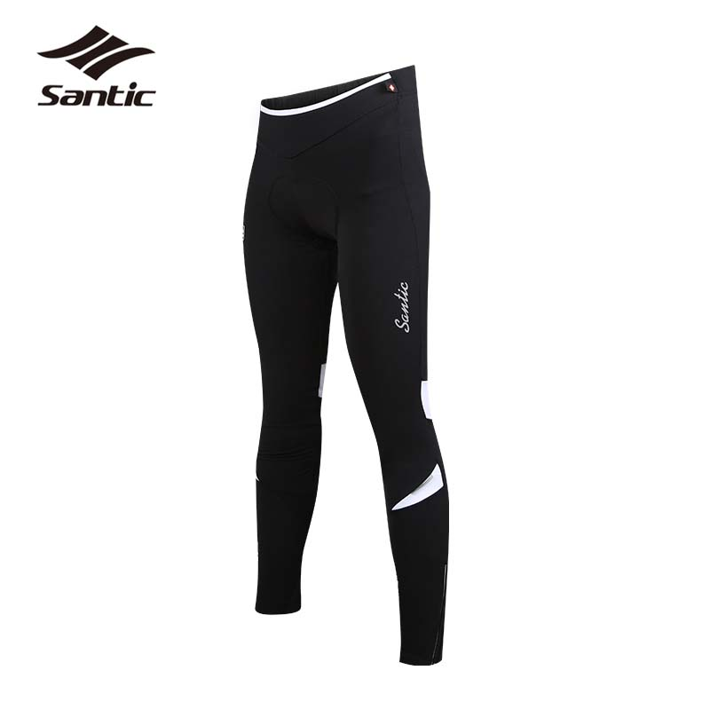 Santic Cycling Pants Winter Fleece Thermal Bicycle Bike Pants Pro Women Hip Protection Sponge Pad MTB Pants Windproof Sportswear santic mtb cycling pants bicycle bike downhill pants women trainers cycling tight pants l5c05058p