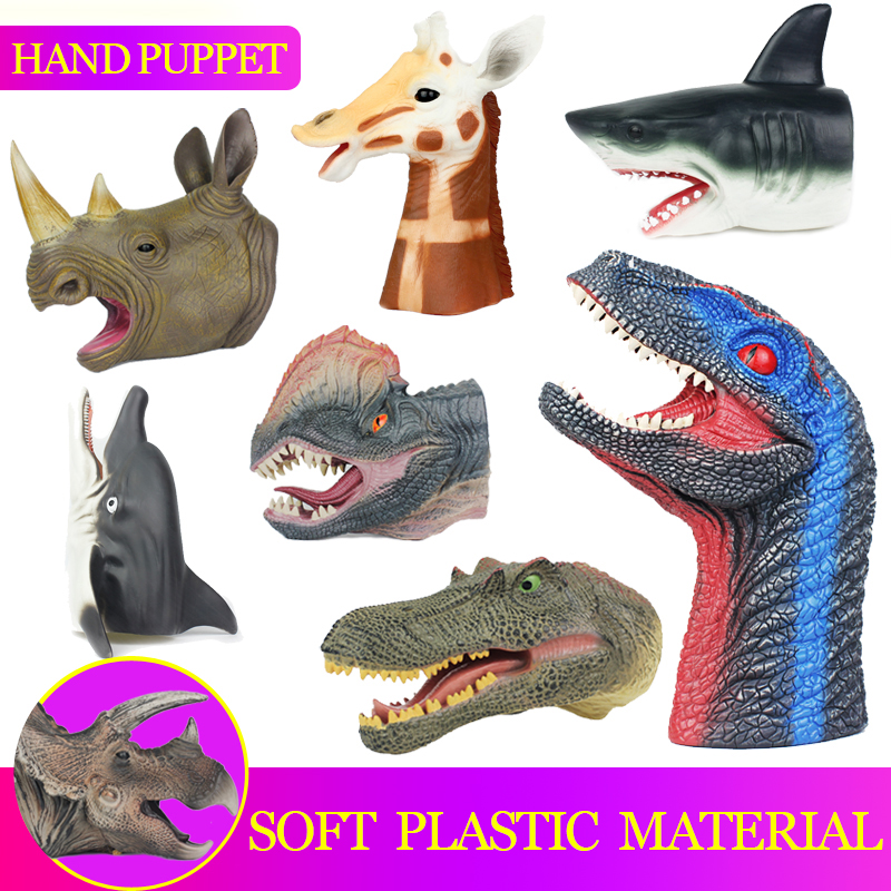 Hand Puppet Toy Soft Plastic PVC T-rex Dinosaur Model Doll for Kids Adults B
