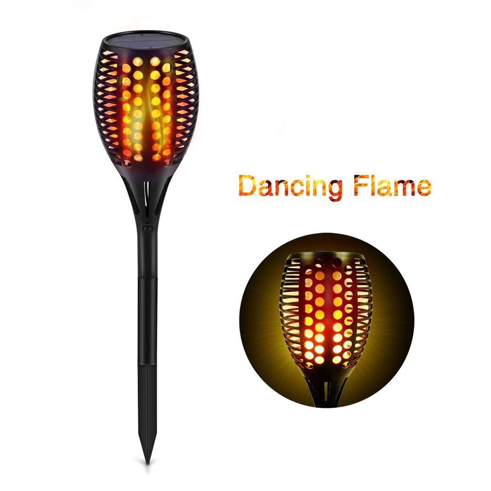 33 LED Flame Solar Control Torch Lights Warm Flickering Stake Lamps Waterproof