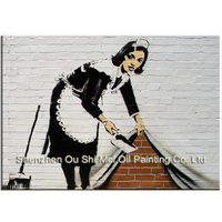 Handmade 3D Maid in Cleaning Paintings Hand painted Abstract Portrait Painting on Canvas for Room Stereo Feeling Wall Decor