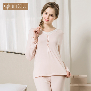 Qianxiu pijamas for women Pure color  v-neck bud silk pajamas 1671