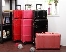 Wholesale Women retro travel luggage bags set 13 22 24inch pu leather trolley luggage sets high