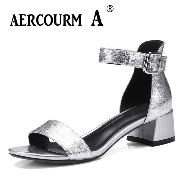 6add09ef47c4 Aercourm A Women Cover Low Heels Sandals Girls Sheepskin Leather Shoes Lady  Buckle Summer Shoes 2018 Pink Gray Sandals DTN30-3