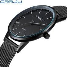 Super slim Quartz Casual Wristwatch Business Top Brand CRRJU Stainless Steel Analog Sport Watch Mens 2017 Relojes Hombre
