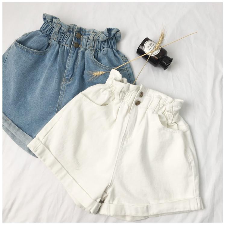 Roll Up Hem Elastic Waist Pocket Blue White Jeans Female 24