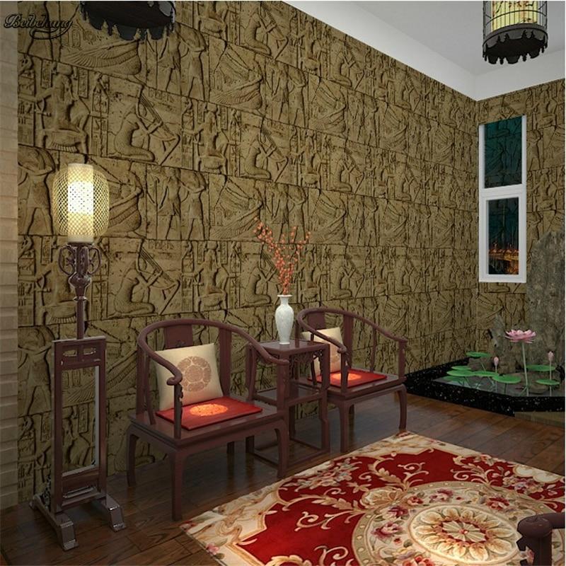Купить с кэшбэком beibehang Retro pvc features imitation engraving Egyptian pattern room escaped wallpaper realistic characters art video wall
