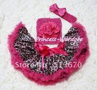 Hot pink gold luipaard pettiskirt, Hot roze pioen hot pink haak tube top, Hot roze boog hoofdband 3 st ingesteld MACT123