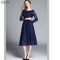2019 new Russian lace temperament body OL sexy aristocratic dress in a long dress for women