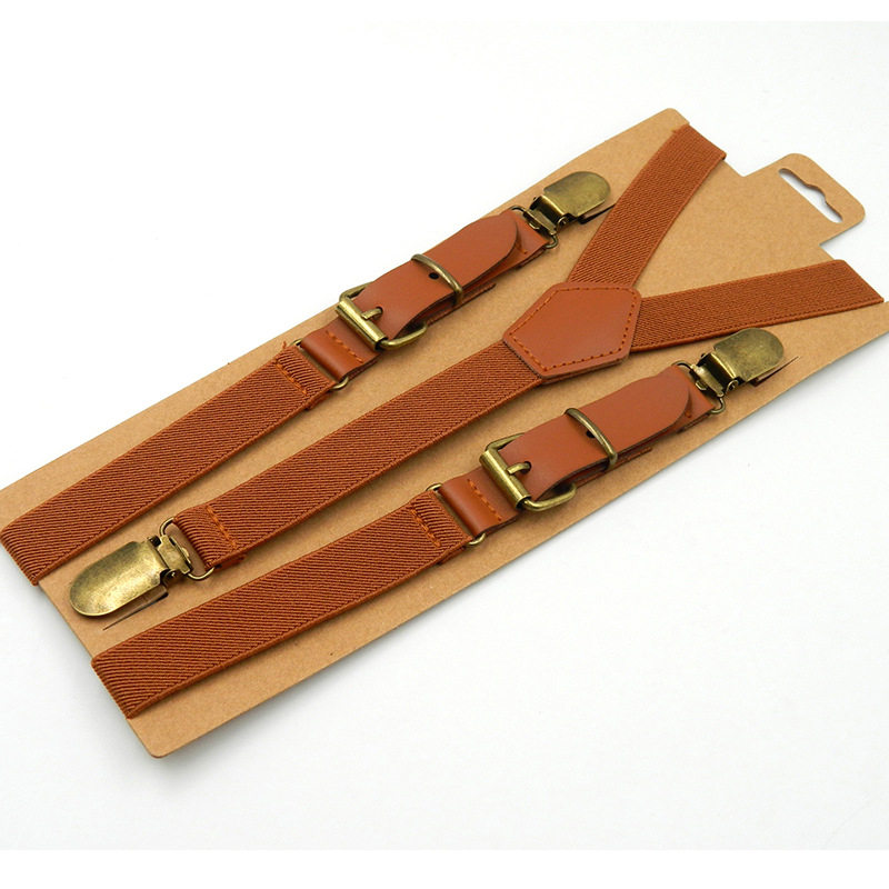 Boy Leather Suspenders Fashion Baby Braces Strong 3Clips Trousers Suspensorio Elastic Retro Casual Strap Size 2.5*70cm