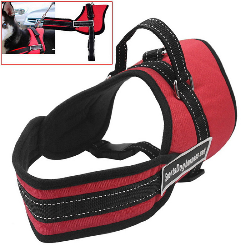 Dog Car Safety Harness >> 1pcs Adjustable Nylon Safety Auto Car Seat Belt Walking Large Pet Dogs Harness Chest Strap-in ...