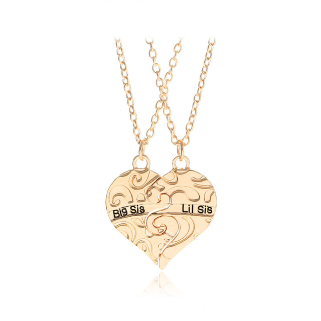 Big sis lit sis big sister little sister pendants necklaces 2 big sis lit sis big sister little sister pendants necklaces 2 sisters carved broken heart necklace mozeypictures Image collections