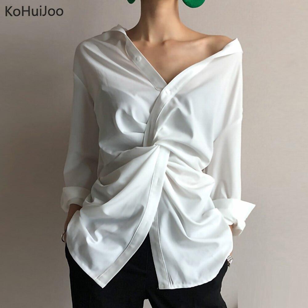 KoHuiJoo femmes élégant Blouse à manches longues hors épaule chemise dame hors épaule à manches longues Sexy col en V à manches longues hauts blanc