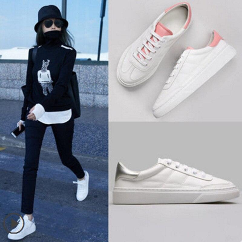 Größe Lace Leder Echtes Schuhe Cm Frauen ~ Nähen Mode Casual Turnschuhe white up 3 Wohnungen Ferse Weiß Rosa 35 40 xnA8qfx