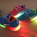Новые весной и летом Дышащие Вдыхаемых освещенный светодиодной чистой резины виды летние девушки юноши дети casual Shoes 802
