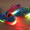 new spring and summer Breathable Respirable lighted led net rubber sport running girls boys children casual Shoes  802