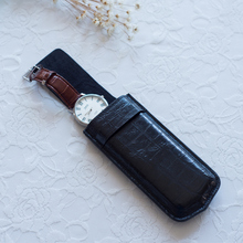 high  quality Crocodile grain cowhide leather portable mechanicalwatch storage  bag  for man