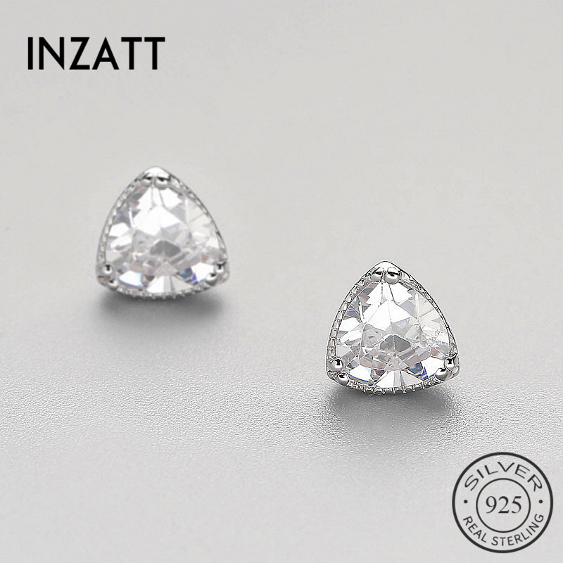 INZATT OL Geometric Triangle Zircon Minimalist Stud Earrings 2018 For Women Wedding Party Charm Silver 925 Fine Jewelry Gift