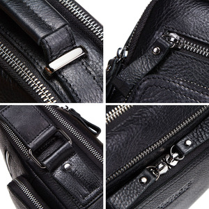 "Image 5 - CONTACTS 100% genuine leather men shoulder bag crossbody bags for men high quality bolsas fashion messenger bag for 9.7"" Ipad"