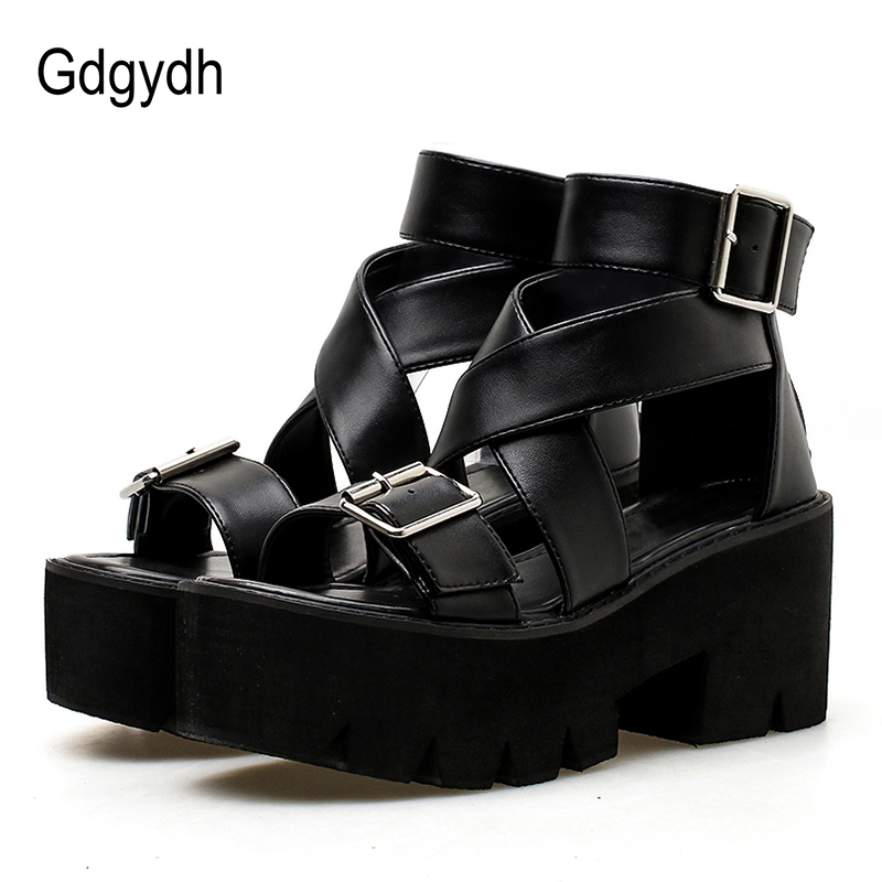 Gdgydh Ankle Strap Summer Shoes Women Open Toe Platform Chunky Heels Female Black Leather Ladies Casual Shoes Drop Shipping 2019