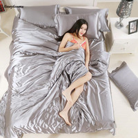 Hot sale! 2019 new style silk duvet cover set bedding set 1 duvet cover 1 bed sheet 1or2 pillowcases super king king queen