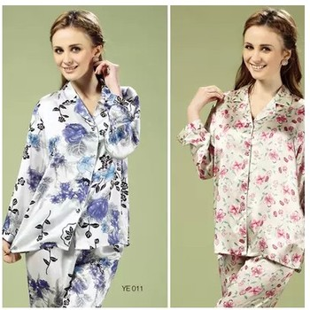 The new house coat Art, 100% mulberry silk woman long-sleeved pants two piece suit silk pajamas, 029