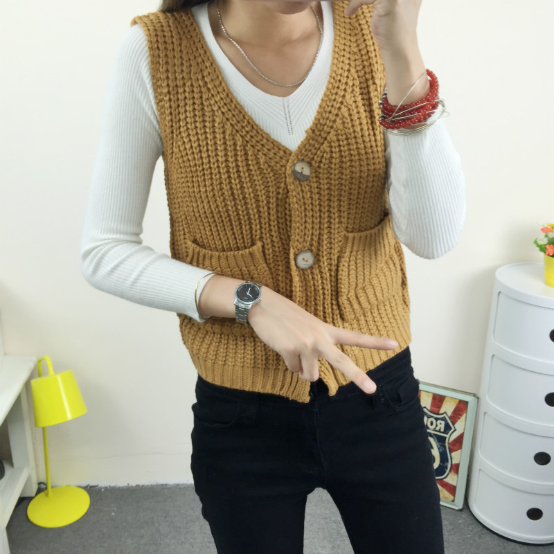Vintage Button Pockets Sweater Women Black White Gray Khaki ...