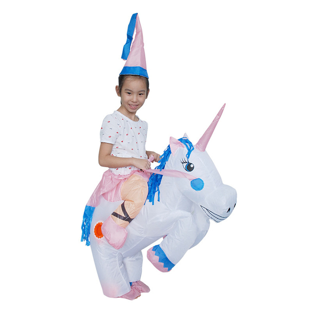 unisex kids white unicorn halloween costume cute inflatable suit cosplay funny fancy blow up outfit