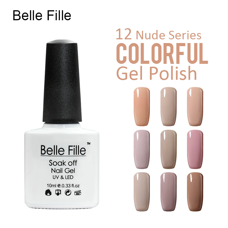 BELLE FILLE Nude Series UV Nail Gel Brown Color Nail Art Professional Soak Off nail polish Varnish Manicure