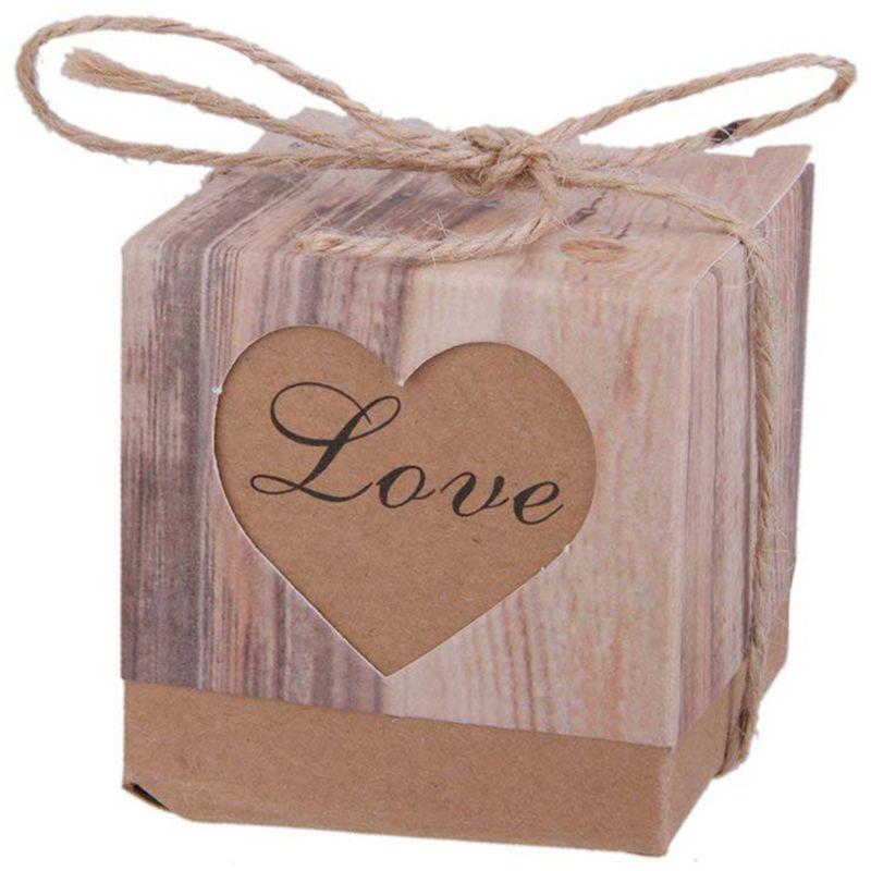50pcs Gift Box Candy Box Bonbonniere Rustic Kraft Paper Brown50pcs Gift Box Candy Box Bonbonniere Rustic Kraft Paper Brown