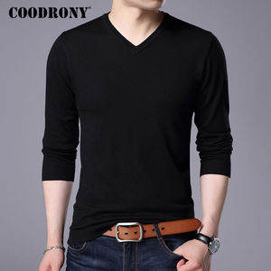 Image 2 - COODRONY Cashmere Sweater Men Brand Clothing 2017 Autumn Winter Thick Warm Wool Sweaters Solid Color V Neck Pullover Shirts 7153