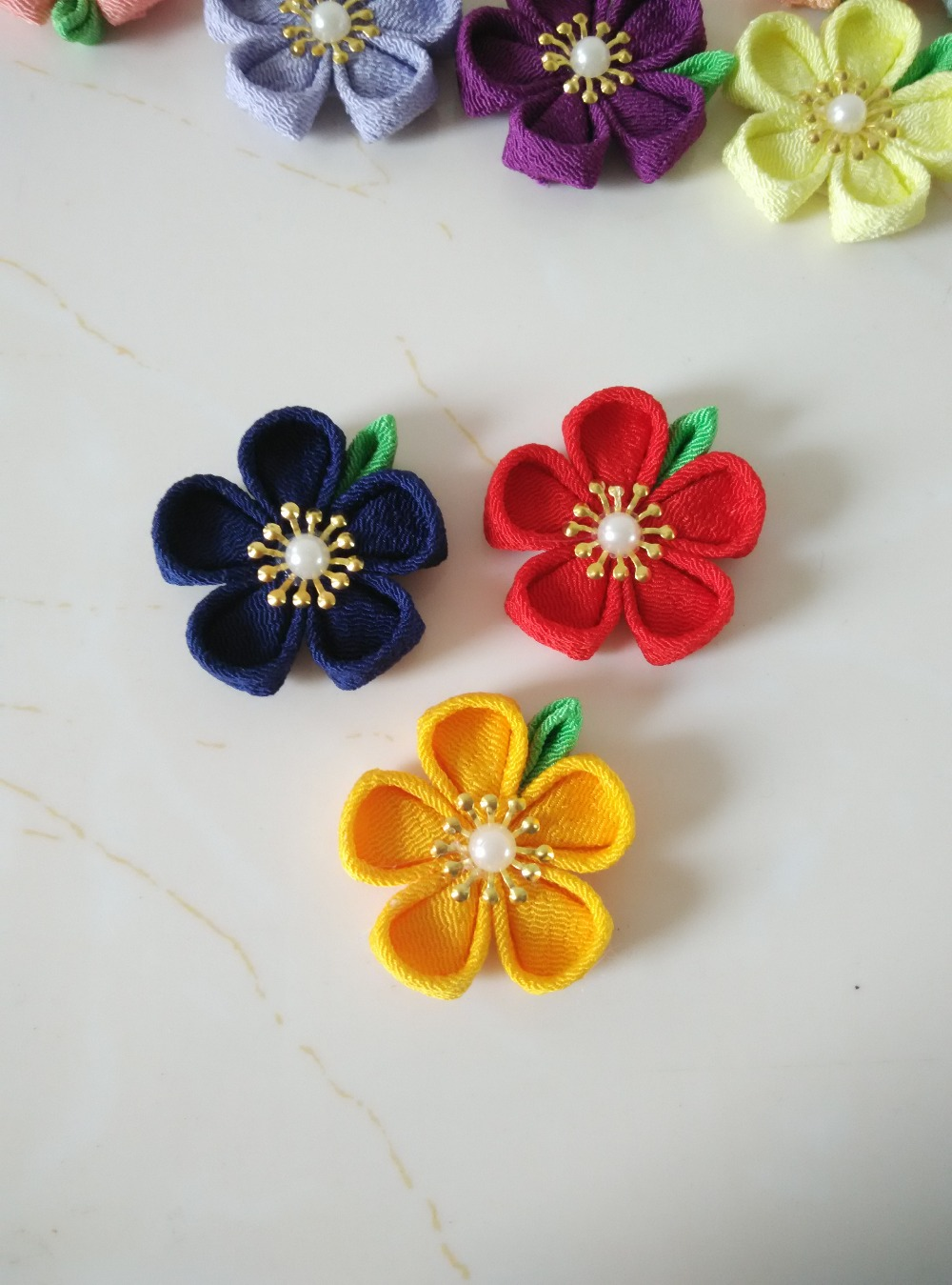 Handmade half finished kanzashi flowers diy craft supplies to make handmade half finished kanzashi flowers diy craft supplies to make lapel flower pins red orange yellow green blue purple in diy craft supplies from home mightylinksfo