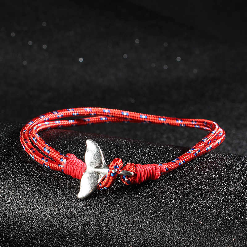 ISINYEE Fashion Whale Tail Anchor Charm Bracelets For Men Women Double Layed Survival Rope Wrap Bracelet Friendship Jewelry