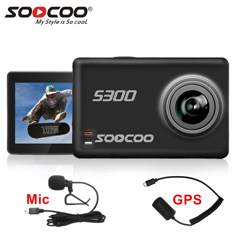 SOOCOO-Cámara de acción S300 4k, deportiva bajo el agua, con Control remoto, micrófono externo, GPS, pantalla táctil, estabilización de imagen