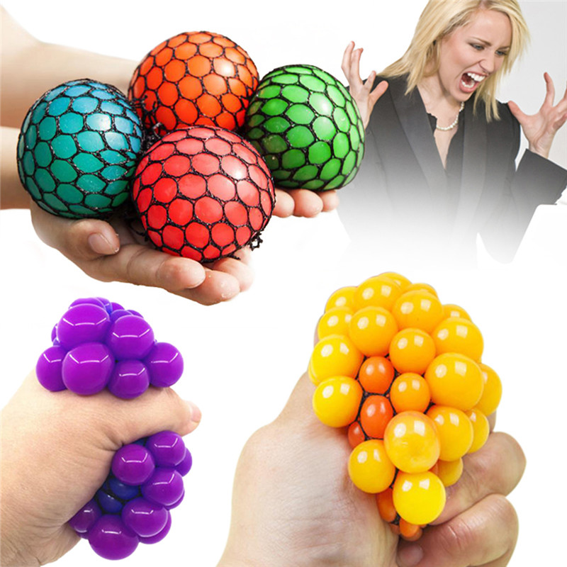 Funny Release Pressure Stress Ball Squeeze Ball Hand Wrist Exercise Stress Grape Shape For Children Adult Antistress Slime Toys