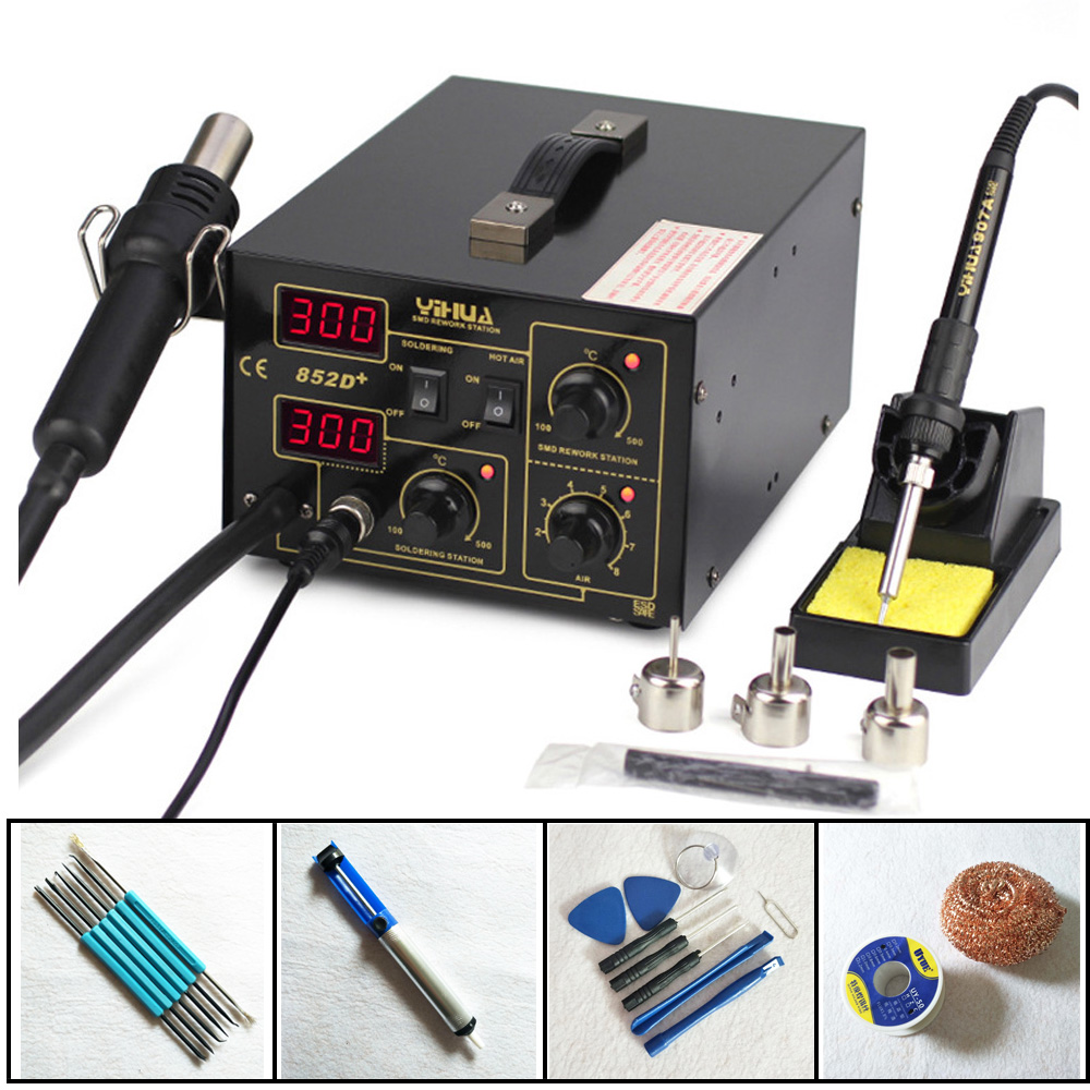 SMD Rework Station Pump Type Hot Air Gun Digital Soldering Iron YIHUA 852D+ 2 in1 SMD Hot Air Rework Solder Station