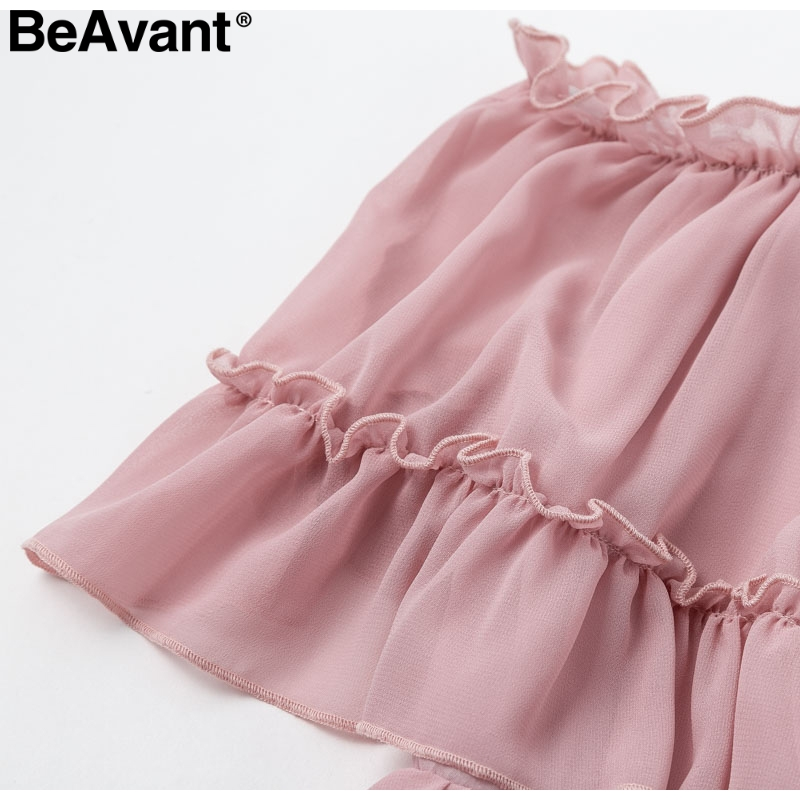 HTB1IcODaOzxK1RjSspjq6AS.pXay - BeAvant Off shoulder strap chiffon summer dresses Women ruffle pleated short dress pink Elegant holiday loose beach mini dress