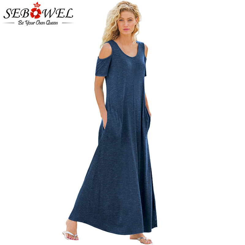 SEBOWEL 2018 Summer Woman <font><b>Dress</b></font> Off the Shoulder Maxi <font><b>Dress</b></font> Ladies <font><b>Indigo</b></font> Cold Shoulder Pocket Style Long <font><b>Dress</b></font> Robe Femme S-XXL